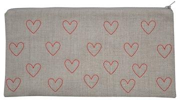 K Studio large pouch hearts hemp-red low